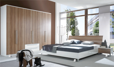 Contemporary-bedroom-with-gray-bed-wood-wardrobe-and-candlestick-and-night-stand